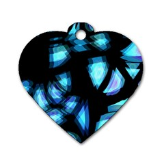 Blue light Dog Tag Heart (One Side)