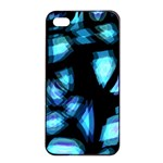 Blue light Apple iPhone 4/4s Seamless Case (Black) Front