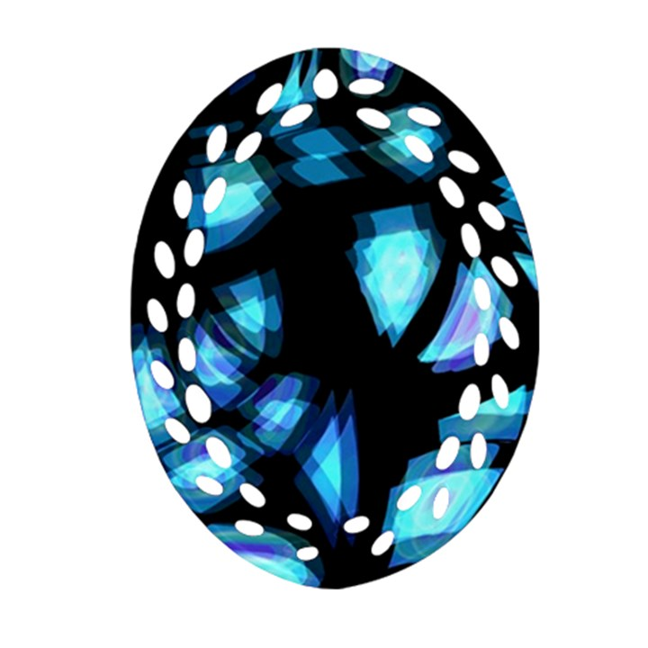 Blue light Oval Filigree Ornament (2-Side)