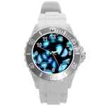Blue light Round Plastic Sport Watch (L) Front