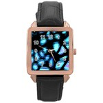 Blue light Rose Gold Leather Watch  Front