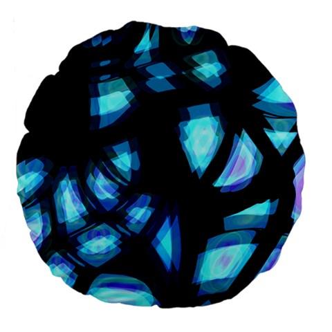 Blue light Large 18  Premium Flano Round Cushions