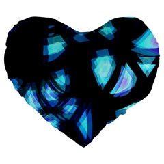 Blue Light Large 19  Premium Flano Heart Shape Cushions