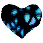Blue light Large 19  Premium Flano Heart Shape Cushions Front