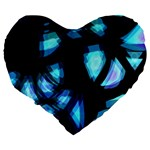 Blue light Large 19  Premium Flano Heart Shape Cushions Back
