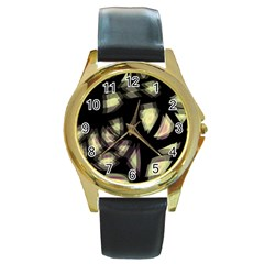 Follow the light Round Gold Metal Watch