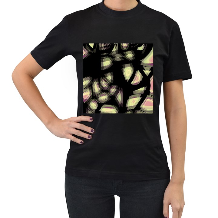 Follow the light Women s T-Shirt (Black) (Two Sided)