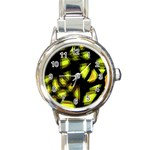 Yellow light Round Italian Charm Watch Front