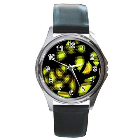 Yellow light Round Metal Watch