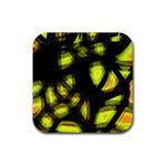 Yellow light Rubber Square Coaster (4 pack)  Front