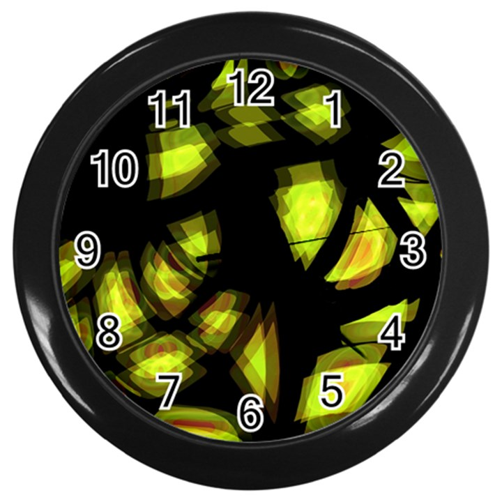 Yellow light Wall Clocks (Black)