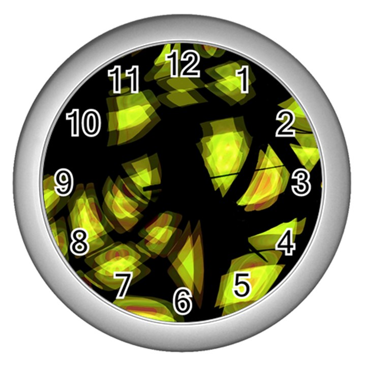 Yellow light Wall Clocks (Silver)