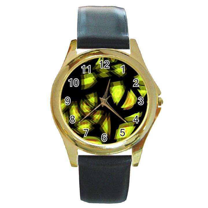 Yellow light Round Gold Metal Watch