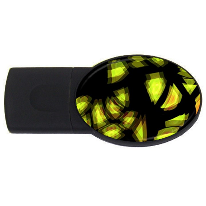 Yellow light USB Flash Drive Oval (2 GB)