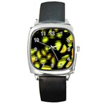 Yellow light Square Metal Watch Front