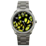 Yellow light Sport Metal Watch Front