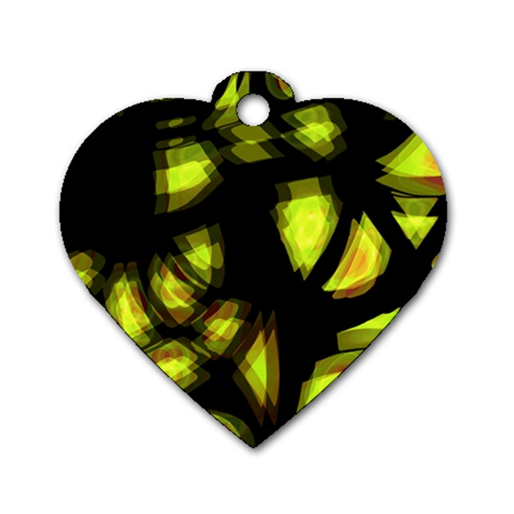 Yellow light Dog Tag Heart (Two Sides)