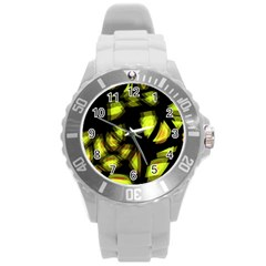 Yellow Light Round Plastic Sport Watch (l)