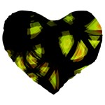 Yellow light Large 19  Premium Heart Shape Cushions Front
