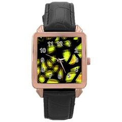 Yellow light Rose Gold Leather Watch