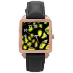 Yellow light Rose Gold Leather Watch  Front