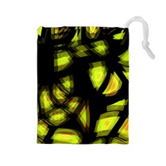 Yellow light Drawstring Pouches (Large)