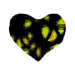Yellow light Standard 16  Premium Flano Heart Shape Cushions Front