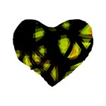 Yellow light Standard 16  Premium Flano Heart Shape Cushions Back