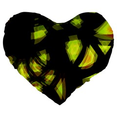 Yellow Light Large 19  Premium Flano Heart Shape Cushions
