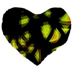 Yellow light Large 19  Premium Flano Heart Shape Cushions Front