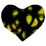 Yellow light Large 19  Premium Flano Heart Shape Cushions Back