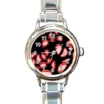 Red light Round Italian Charm Watch Front