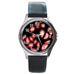 Red Light Round Metal Watch