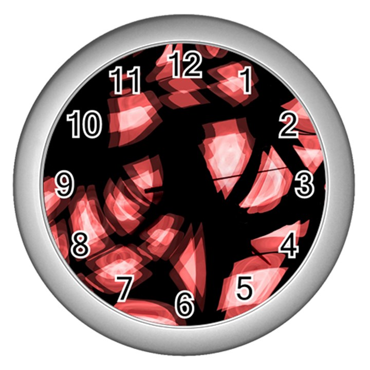 Red light Wall Clocks (Silver)
