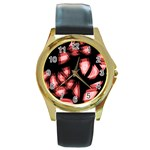 Red light Round Gold Metal Watch Front