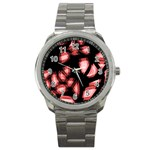 Red light Sport Metal Watch Front