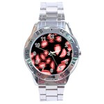 Red light Stainless Steel Analogue Watch Front