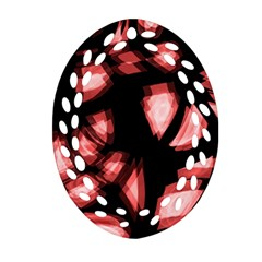 Red light Oval Filigree Ornament (2-Side)