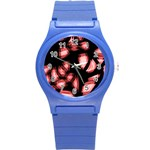 Red light Round Plastic Sport Watch (S) Front
