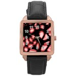 Red light Rose Gold Leather Watch  Front