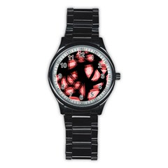 Red light Stainless Steel Round Watch