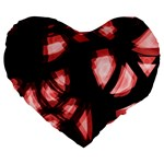 Red light Large 19  Premium Flano Heart Shape Cushions Front