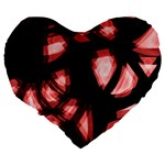 Red light Large 19  Premium Flano Heart Shape Cushions Back
