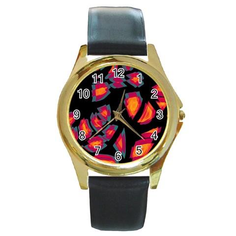 Hot, hot, hot Round Gold Metal Watch