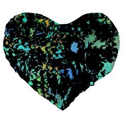 Colorful magic Large 19  Premium Flano Heart Shape Cushions