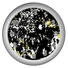 Little bit of yellow Wall Clocks (Silver)