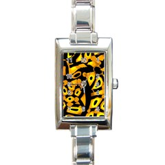 Yellow design Rectangle Italian Charm Watch
