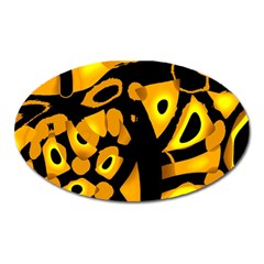 Yellow design Oval Magnet
