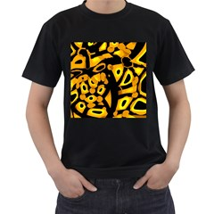 Yellow design Men s T-Shirt (Black) (Two Sided)