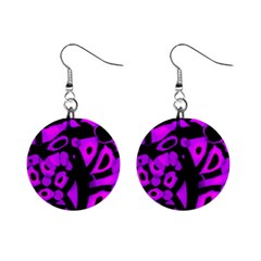 Purple design Mini Button Earrings